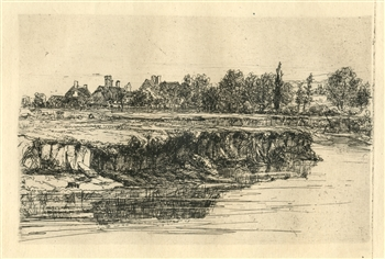 "Seymour Haden ""Bit of a River Bank"" original etching"
