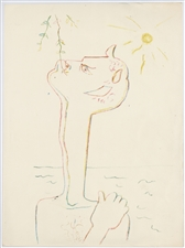 Jean Cocteau original lithograph for Montagnes Marines