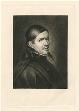 Paul Rajon original etching Portrait Of Murillo