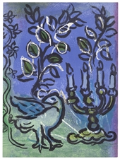 "Marc Chagall ""Le Chandelier"" original lithograph for Jerusalem Windows"