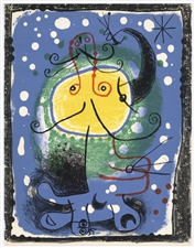 Miro original lithograph Figure on a blue background