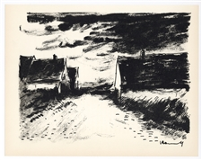 "Maurice de Vlaminck original lithograph ""Houses in Beauce"""