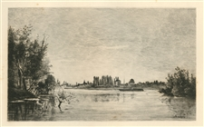 Charles Daubigny etching Bords de l'Oise