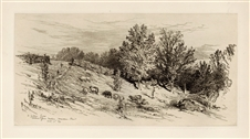 James Smillie original etching A Fallow Field