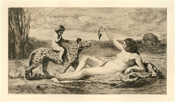 Jean-Baptiste Corot etching Chasse