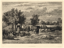 Constant Troyon etching Normandie Charles Courtry