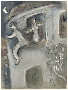 "Marc Chagall ""Micah Rescues David from Saul"" Bible lithograph"