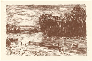 "Alfred Sisley lithograph ""Le Loing pres Saint-Mammes"""