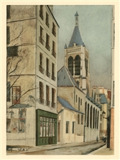 Maurice Utrillo pochoir L'Eglise Sainte-Severin