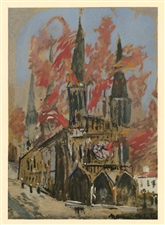 Maurice Utrillo pochoir La Cathedrale en flammes
