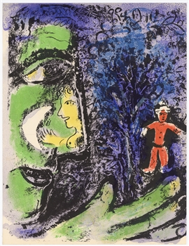 Marc Chagall original lithograph Le Profil et l'enfant rouge, Profile and the Red Child