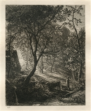 Samuel Palmer original etching Sunset
