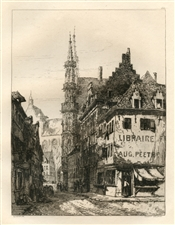 Ernest George original etching Louvain