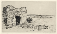 "Frank Short ""Strand Gate, Winchelsea"" pencil-signed etching"
