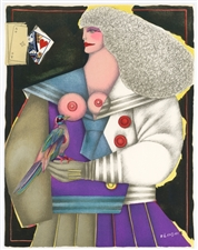 "Richard Lindner ""Woman and Bird"" original lithograph"