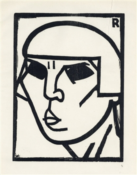 "Andre Rouveyre original woodcut ""Kopf"""