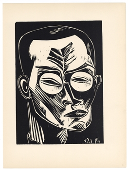 "Conrad Felixmuller original woodcut ""Self Portrait"""