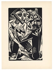 "Max Pechstein original woodcut ""Woman Desired by Man"""