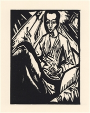 Erich Heckel Sick Girl original woodcut