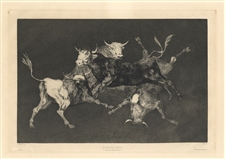 Francisco Goya original etching Lluvia de Toros