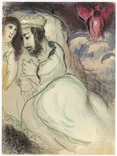 "Marc Chagall ""Sarah and Abimelech"" original Bible lithograph"