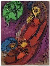 "Marc Chagall ""David and Absalom"" original Bible lithograph"