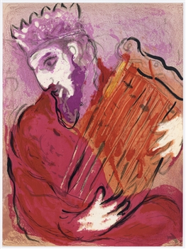 "Marc Chagall ""David and his Harp"" original Bible lithograph"