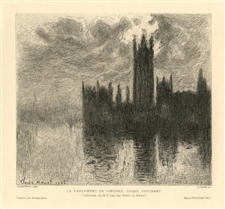 "Claude Monet etching ""Le Parlement de Londres, Soleil Couchant"""