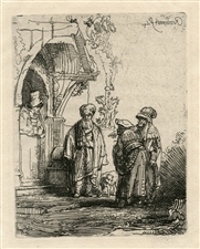 Rembrandt van Rijn etching Jacob and Laban