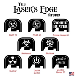 Engraved FN FNS Back Plate Zombie Bio Hazard Patterns