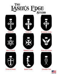 Laser engraved FN FNS Magazine Base Plate - Religious Crosses 01