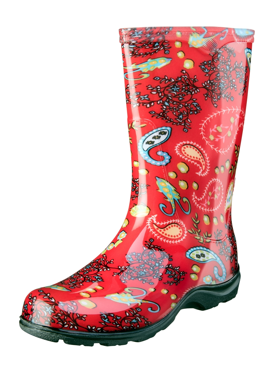 a819a9a3e Sloggers Made in the USA Women s Rain Boots Red Paisley Print