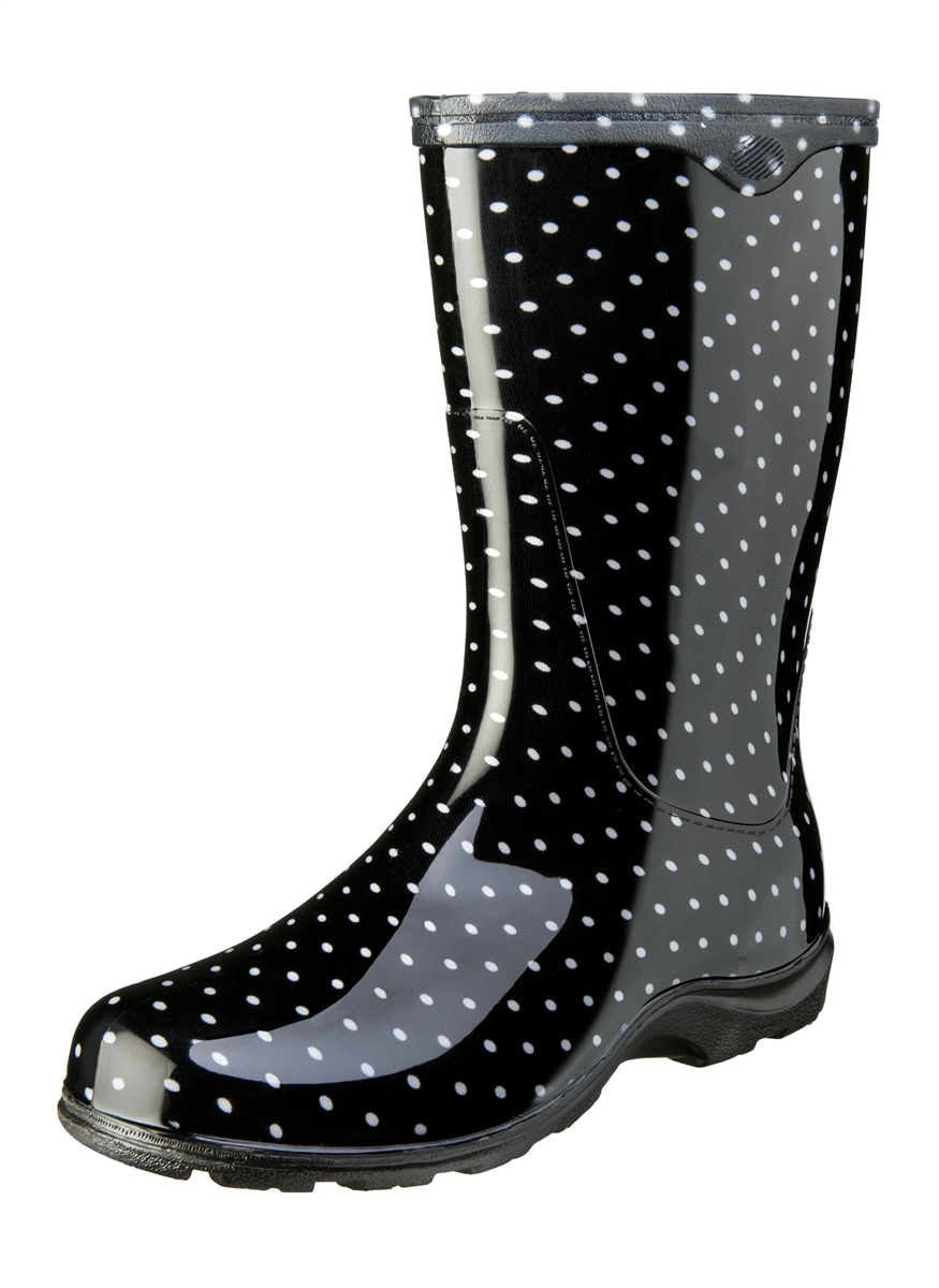 Black & White Polka Dot Rain Boots by Sloggers