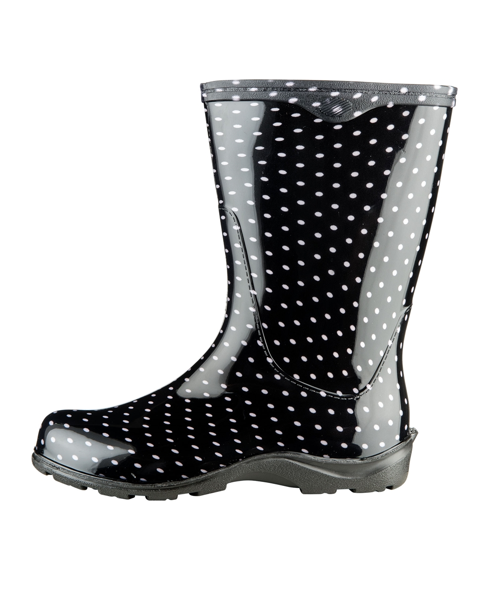 Black \u0026 White Polka Dot Rain Boots by