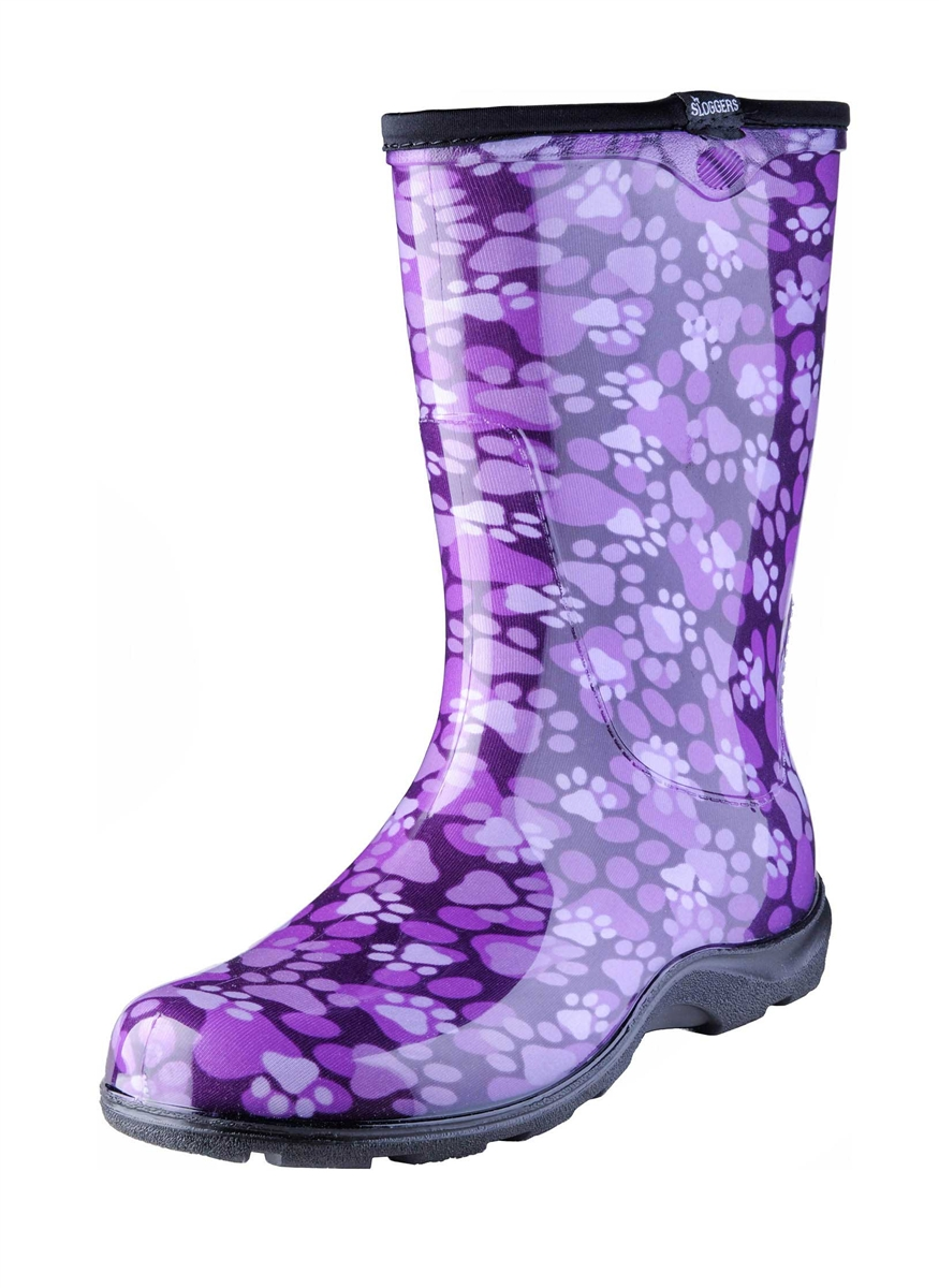 Women's Rain & Garden Boots -Paw Print Purple