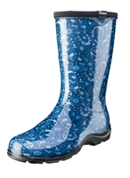 Women's Rain & Garden Boots  -Horseshoe Paisley Blue - Made in the USA