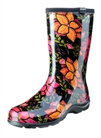 Women's Rain & Garden Boots  -Spring Surprise Black - Made in the USA