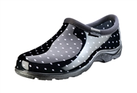 Women's Waterproof Comfort Shoes - Black & White Polka Dots