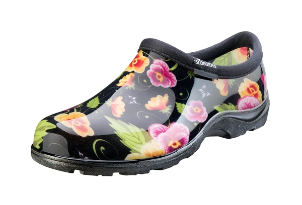Women's Rain & Garden Shoes - Black Pansy