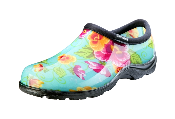 Women's Rain & Garden Shoes - Turquoise Pansy
