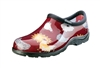 Sloggers Women's Rain & Garden Shoe in Red Barn Chicken Print