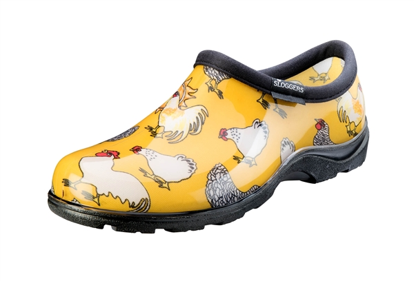 Sloggers Women's Rain & Garden Shoe in Daffodil Yellow Chicken Prints