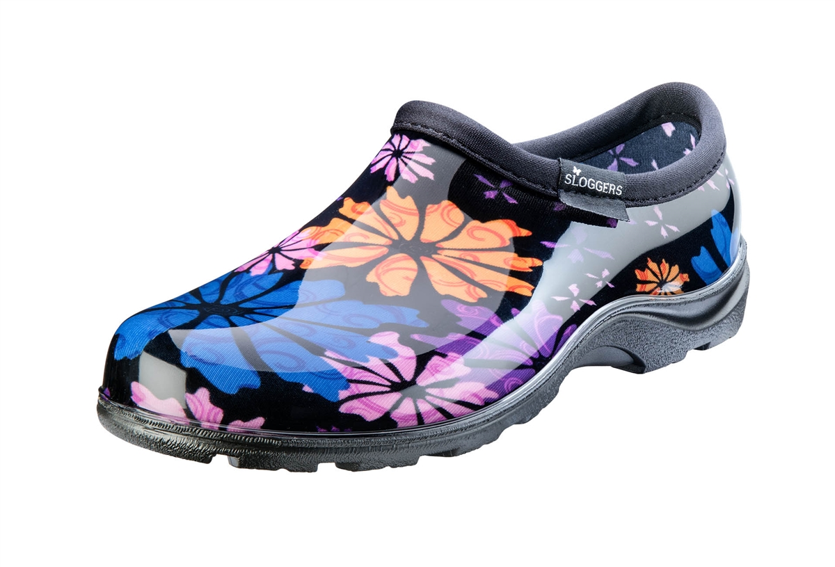 Womens Rain Garden Shoes Flower Power print