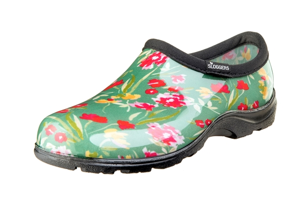 Sloggers Waterproof comfort shoes, Made in the USA! Women's Rain & Garden shoes. Fresh Cut GreenPrint.