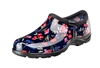 Sloggers Waterproof comfort shoes, Made in the USA! Women's Rain & Garden shoes. Fresh Cut Navy Print.