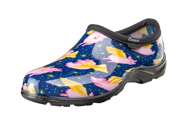 Sloggers Waterproof comfort shoes, Made in the USA! Women's Rain & Garden shoes. Blue Pig Print.