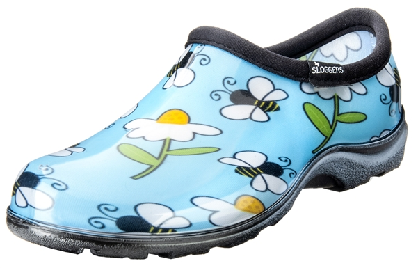 Sloggers Waterproof comfort shoes, Made in the USA! Women's Rain & Garden shoes. Blue Bee's Print.