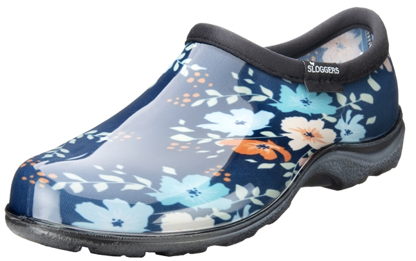 Sloggers Waterproof comfort shoes, Made in the USA! Women's Rain & Garden shoes. Floral Fun Blue Print.