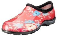 Sloggers Waterproof comfort shoes, Made in the USA! Women's Rain & Garden shoes. Floral Fun Coral Print.