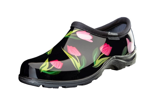 Sloggers Waterproof comfort shoes, Made in the USA! Women's Rain & Garden shoes. Tulip Black Print.